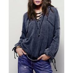 Women's Chic Long Sleeve Hooded Lace-Up Hoodie