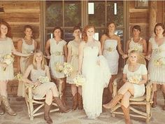 bridesmaids in beige... and cowboy boots