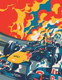 Red Bull Cover Illustration for Sport Magazine - Matt Taylor Art And Illustration, Illustrations And Posters, Red Bull F1, Red Bull Racing, F1 Racing, Course Red Bull, Sports Magazine, Car Drawings, Automotive Art