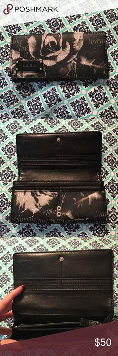 L.A.M.B. Gwen Stefani folding wallet Folding black and white flower print L.A.M.B. wallet. Excellent condition! L.A.M.B. Bags Wallets