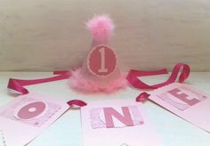 1st birthday highchair banner girl one birthday bunting party hat set pink in Home, Furniture & DIY, Celebrations & Occasions, Party Supplies   eBay!