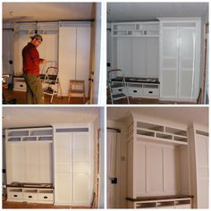 Pax Wardrobe and Hemnes Bench, minor trim pieces, corbels and hooks to frame it all out. Love!