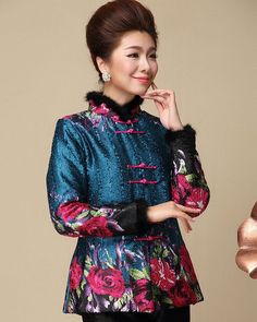 Elegant Blue Brocade Floral Pattern Fur Collar Chinese Style Jacket for Mother - iDreamMart.com