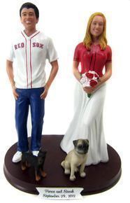 Baseball Fans Wedding Cake Topper sculpted to look like the bride and groom!