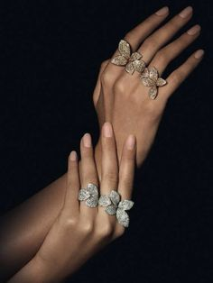Pasquale Bruni Jewels butterfly flower multi-finger rings ... seen in Dec 2015 / Jan 2016 Town and Country holiday issue