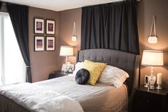 Master Bedroom | Pride & Joyce // gray, black, purple, mustard, tufted headboard, romantic