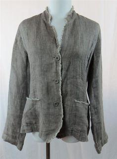 Eileen Fisher Women's Blazer Jacket Irish Linen Medium Gray Putty Color 3 Button | eBay $34.95