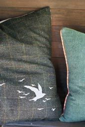 Harris Tweed Floor cushion   by Rosie - Designer    Beautiful Harris tweed cushions, hand silk-screen printed with the original 'Flutter' design and with vintage fabric selvedge. The reverse of the cushion is a gorgeous silk hopsack fabric which complements the tweed.     Each cushion comes with feather filled cushion pad.