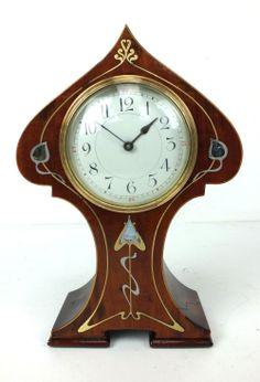 Edwardian Mantle Clock Mahogany Tulip Art Nouveau Inlaid Mantel Clock, 1904