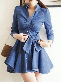 Elegant Bowknot Decorated V-Neck Long Sleeve Denim Dress #dress #summer #fashion