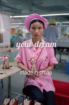 Your dream is made in China. Wallpaper iPhone. Consumerism art