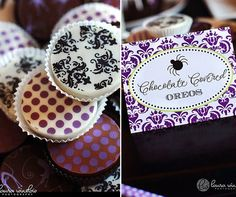 I love these!~ 1 Dozen BLACK DAMASK Designer Chocolate Covered Oreos -Halloween Party Wedding Shower Birthday Gift Favor