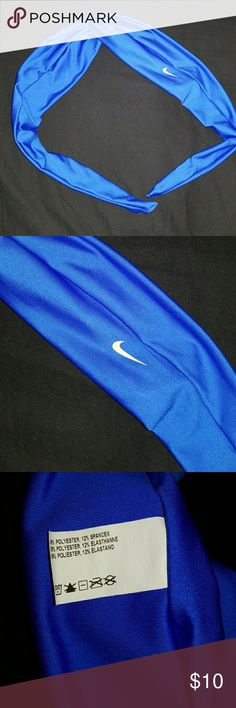 Nike headband Beautiful brand new headband but removed tags. The material is a beautiful shiny blue. Great for workouts. Very comfortable headbands. I collect them and have many colors I just don't use some. Nike Other