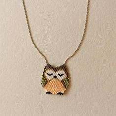 Miyuki Owl Necklace Please feel free any questions or custom order.. I would be glad if you give me a positive feedback after you receive your package. Thanks for visiting Design by DO. DELIVERY TIMES Standard Shipping: For USA - appx 10-12 days For Canada, Australia - appx. 15-20