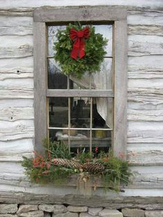 Cabin Window At Christmas