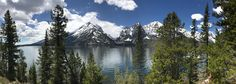 A different view of the Grand Tetons taken from the shore of Jenny Lake [10624x3788] [OC]   landscape Nature Photos