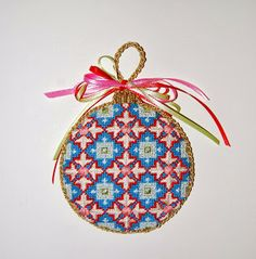 Diane's Taking Time Out To Needlepoint, Kirk & Bradley Florentine Bauble ornament