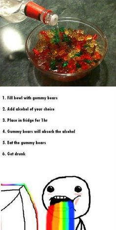 Gummy bears + vodka, or rum... They are the best ever :)