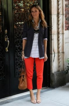 L - So cute! Yellow capris with white blouse under navy cardigan ...