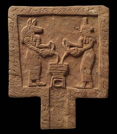 "dwellerinthelibrary: "" A Meroitic offering table, showing Anubis and Nephthys pouring libations (liquid offerings). Meroitic writing runs round the border and down the spout. The table would have been used to make libations on behalf of the deceased. Ancient Mysteries, Ancient Artifacts, Temples, Ancient Egyptian Architecture, Wooden Statues, Valley Of The Kings, Egyptian Goddess, Anubis, Museum Of Fine Arts"