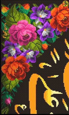 Small Cross Stitch, Cross Stitch Designs, Cross Stitch Patterns, Brick Stitch, Rose Bouquet, Diy And Crafts, Applique, Mandala, Sewing
