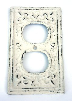 Shabby Cottage Chic Cast Iron Electrical Outlet by SecondHandNews, $9.00