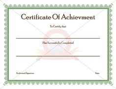 Achievement Certificate for Successfully Completion