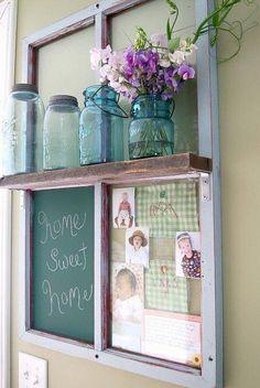 diy shabby chic framed old shelf window - Window Frame Art