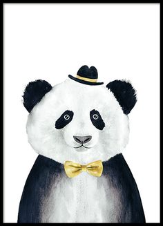Poster with a cute illustration of a panda, great for children. The panda has a cute hat and a yellow bow tie and looks stunning in the children's room and also in the living room. Combine with more of our great illustrations of cute animals which can be found in our webshop. www.desenio.com