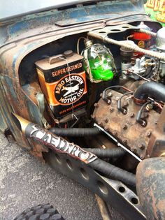 How you solve 'Oil' and 'Anti-Freeze' issues on a Rat Rod... use a skull & a can of course. Very cool SkullyBloodrider.
