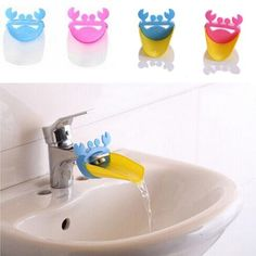 HOT Unique Cute Bathroom Water Faucet Extender For Kid Hand Washing Child Gutter Sink Guide 91QR