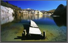 New Zealand. Jetty Blue Lake St Bathans Upper Manuherikia Valley Central Otago Landscape