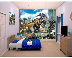 Join Bumblebee and all his friends and enemies with this Transformers wall mural. Order now at www.middletonowood.co.uk