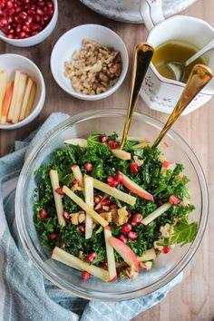 Kale Pomegranate Salad: crisp apples, toasted walnuts, massaged kale ...