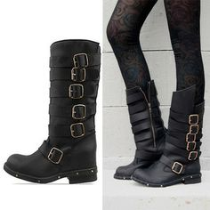 New 2013 fashion jeffrey campbell cowhide vintage buckle women motorcycle boots genuine leather thick heel ankle boots plus size
