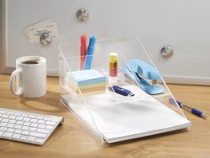 AmazonSmile : mDesign Desk Organizer 5 with Paper Tray, Clear : Office Products