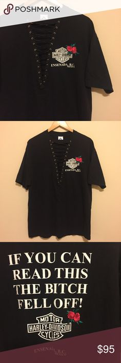 Harley Davidson rose patch lace up tee Hand made with love by me! Similar to LF. Price firm unless bundled. LF Tops Tees - Short Sleeve
