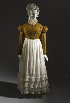 Spencer and petticoat, spencer of cotton, skirt of cotton with linen net and cotton appliques, c. 1815, French.