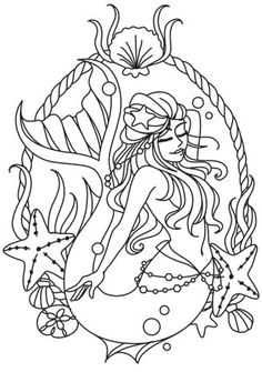Mermaid Cameo design (UTH10447) from UrbanThreads.com