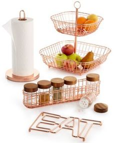 Copper Kitchen Organization, Created for Macy's The classic warmth of copper gets a contemporary look in this line from Martha Stewart Collection. Choose a practical spice rack or towel holder or add a decorative touch with a trivet or tiered basket. Classic Kitchen, Rustic Kitchen, Eclectic Kitchen, Country Kitchen, Kitchen Organization, Kitchen Storage, Closet Organization, Copper Kitchen Accessories, Copper Kitchen Accents