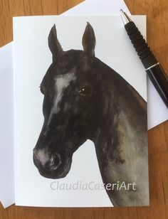 "Note card from my original watercolour painting of Akhal Teke ""Povilika"". Blank inside for your personal message. Visit me on Etsy: ClaudiaCaseriArt #horses #akhal take #black horse #black stallion #art cards"