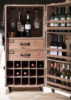 Wine Rack Storage, Wine Rack Cabinet, Drinks Cabinet, Trunk Furniture, Furniture Design, Alcohol Cabinet, Home Wine Bar, Office Break Room, Cool Tables