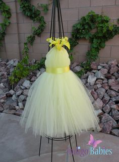 Tutu Dress Yellow Flower Girl Dress Ready To Ship by indigobabies, $38.00
