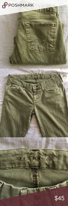 "2/$50 7FAM olive green Carol Crop skinnies GUC,, see mild wear on back 15.5"" waist, 24"" inseam. 97% cotton, 3% elastane 7 For All Mankind Jeans Ankle & Cropped"