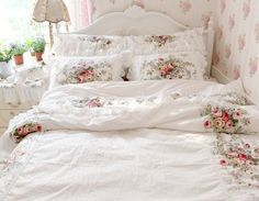 FADFAY Home Textile,New 2014,European Vintage Floral Rose Bedding Set,Shabby Floral Country Style Bedding Set,White Lace Ruffle Bedding Sets:Amazon:Home & Kitchen
