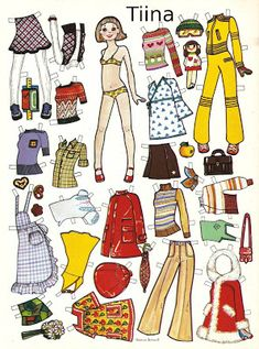 70-luvulta, päivää !: Miksei myös poikasillekin Fabric Doll Pattern, Fabric Dolls, Paper Dolls, Early Childhood, Childhood Memories, Good Old Times, Old Toys, Fashion Plates, Print And Cut