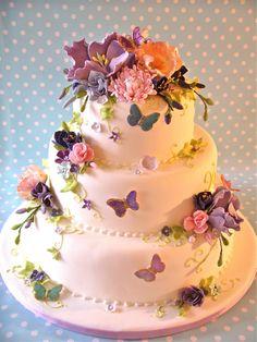 flowers, butterflies, cake, cookie