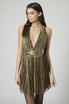 Topshop Pleated Gold Halter Dress, $90