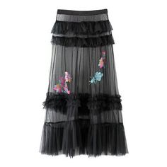 Sheer Sequined Embroidery Multi-Layered Maxi A-Line Skirt (1,770 PHP) ❤ liked on Polyvore featuring skirts, long a line skirt, sequin maxi skirt, maxi skirts, long layered skirt and long sheer maxi skirt