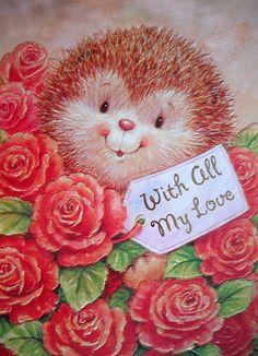 Hedgehog Art, Cute Hedgehog, Decoupage, Beautiful Drawings, Cute Drawings, Hallmark Cards, Vintage Greeting Cards, Love Valentines, Love Cards